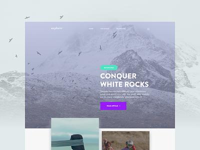 Explorrr Blog website ux interface user ui travel simple online minimal magazine layout flat