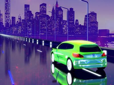 Purple Drive vaporwave cartoon scirocco car concept retrovawe retro animation aftereffects cinema4d