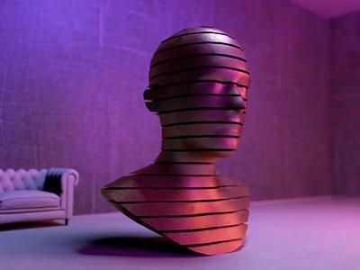 interior metamorphose sculpture head home homedecor animated gif animation aftereffects visual art interior art cinema4d
