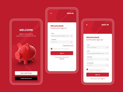 Login, Signup screen design bank app simple mobile app ui mobile ui mobile app design sign up login screen