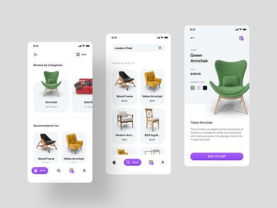 Furniture store mobile ui minimalist minimal chair shop ios app design ecommerce app ui  ux mobile app design mobile app furniture app furniture shop furniture store