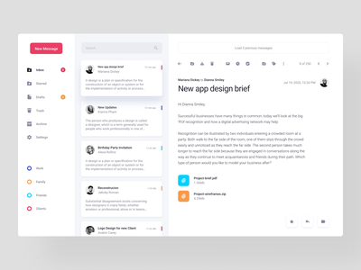 Email App chat interaction uiuxdesign webdesign web product design mimimal messages mailing mailbox inbox email design clean ui exploration