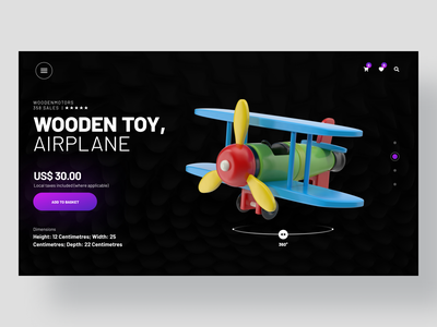 Wooden Toy Airplane webpage ecommerce design ecommerce shop ecommerce 360 degree minimalism clean ui intarface ui kit design product page design wooden toys toy website toy design