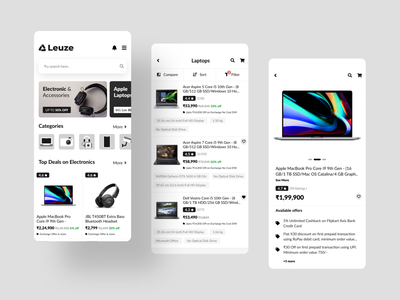 Electronic Accessories Store electronics store product shop shopping cart store ui kit minimal clean ui ios app design uiuxdesign interaction product listing product page create account login screen onboarding screen ecommerce app