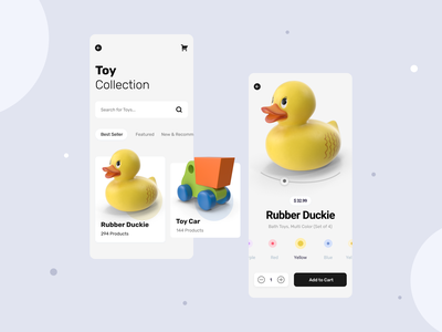 Toy App ui design ios app design add to cart minimalist ecommerce app toy store