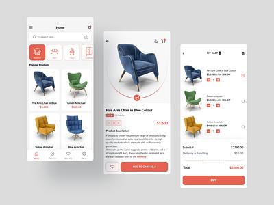 Furniture store app ios app design ios app ui figmadesign furniture website furniture app