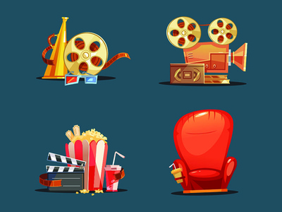 Flat Design Retro Objects With A Film Projector