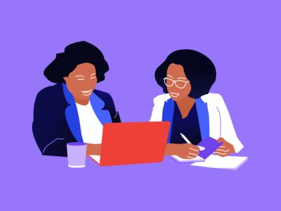 Two Woman While Looking On Laptop Computer