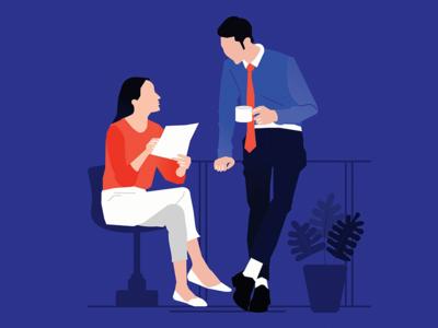 People talking in office illustrations