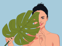 Woman holding a leaf of a palm tree