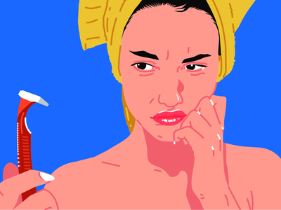 Beautiful sad woman with a towel on her head interface drawing muzli uiux website illustration web illustration woman portrait woman blue background illustrator illustration design illustrations illustration challenge illustraion illustration art illustration agency flat  design girl illustration woman illustration illustration