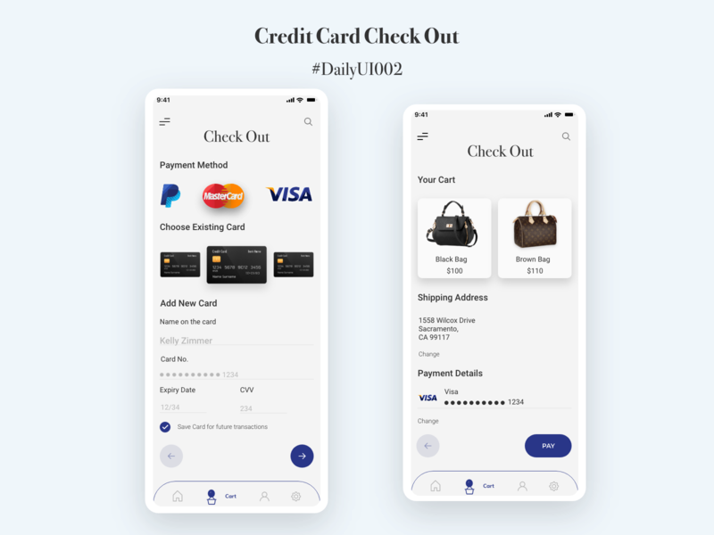 Credit Card Checkout credit card checkout adobe photoshop adobe xd dailyui dailyuichallenge app design ux ui mobile