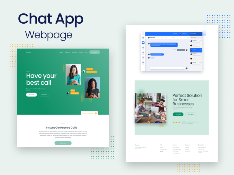 Chat App Web Page figma landing page uidesign uiux web design design