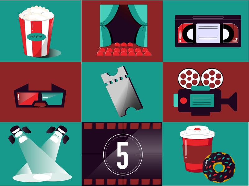 cinema icons illustration icon vector design