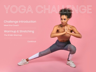 Daily UI challenge #062 - Workout of the Day yoga workout pink userinterface visualdesign mockup userinterfacedesign uidesign uiux visualdesigner dailyuichallenge dailyui