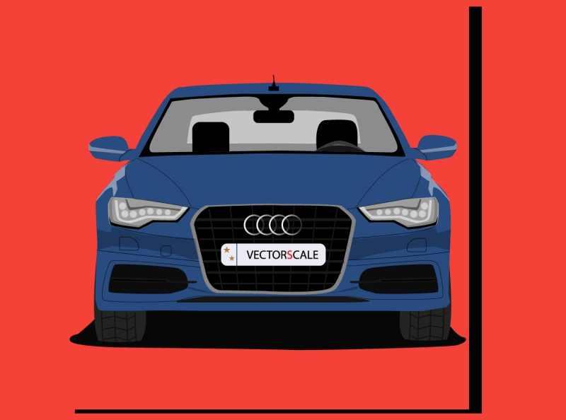 Audi Q6 Front View branding animation fanart vector minimal logo illustrator illustration flat design art