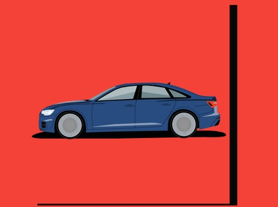Audi Q6 side view animation fanart branding vector minimal illustrator illustration flat design art