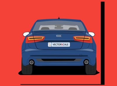 Audi Q6 Rear view fanart animation branding vector minimal illustrator illustration flat design art