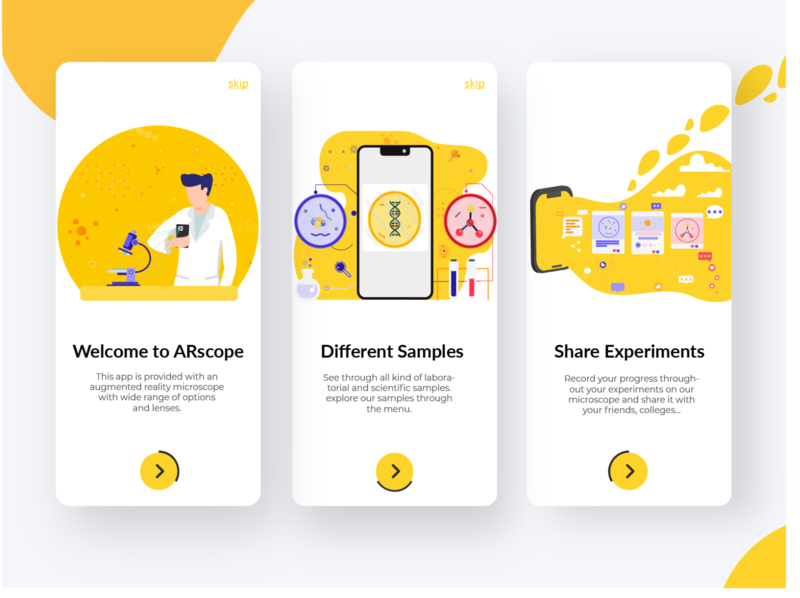 AR microscope mobile app app mobile augmented reality augmentedreality flat illustration ui onboarding