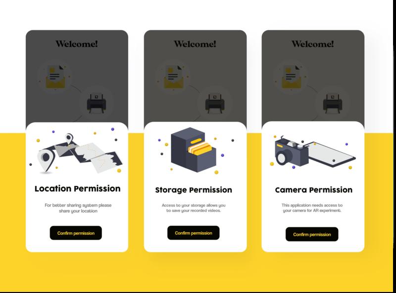 Permissions illustration camera app mobile location storage camera permissions permission