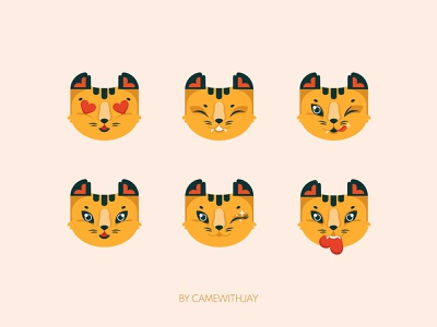Happy cheetah tiger vectorart positive emotions emotions happy animal logo 2021 cartoon character valentine cupid in love emoji animal cartoon flat vector charachter design design graphic design illustration