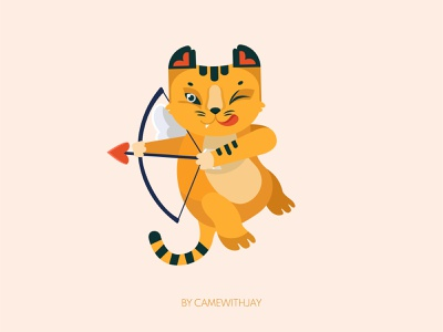 Cupid animal logo cartoon february holliday love cupid st valentines flat digital flat illustration vectorart 2021 tiger cheetah animal vector art charachter design illustration