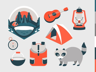 Forest Camping collection vector artwork isometric vector art red gray monochrome racoon outdoors vector set camping ui flat icon vector digital graphic design design illustration