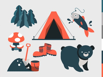 Forest fishing forest logo gray red color combination icons vectors minimalistic simple fishing camping forest animals food ui flat icon vector digital graphic design design illustration