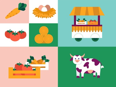 Farm life illustration food green minimalistic simple farm goods market farmers market color combination color lifestyle illustration art cow farm ui flat icon vector graphic design design illustration