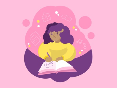 Journaling meditation character hobby doodling diary relaxation flat web art color palette pink female character young girl health drawing journaling mindfulness meditation art charachter design vector illustration