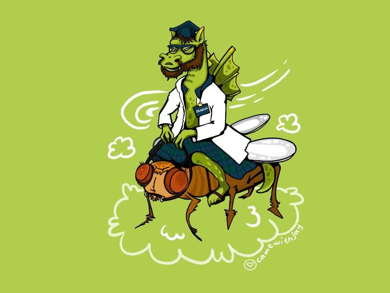 Dragon with a doctor's degree character design portrait green art digital illustration digital illustration procreate dragon