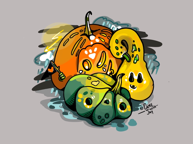 Pumpkin spooks procreate5 procreate halloween illustration art digital pumpkin season fall yellow candle light candy scared inktober night rain spooky wizard magical ghost halleween pumpkin