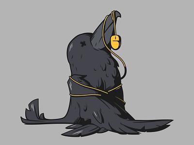 Crow 2 illustration black bird crow 404