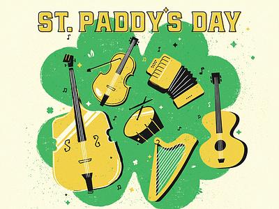 Shamrock Jamboree event illustration instruments paddy day patricks st. saint