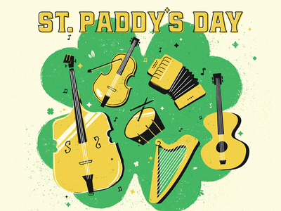 Shamrock Jamboree  event illustration instruments paddy day patricks st. saint