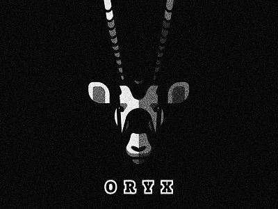 Oryx white black antelope oryx mark logo animal