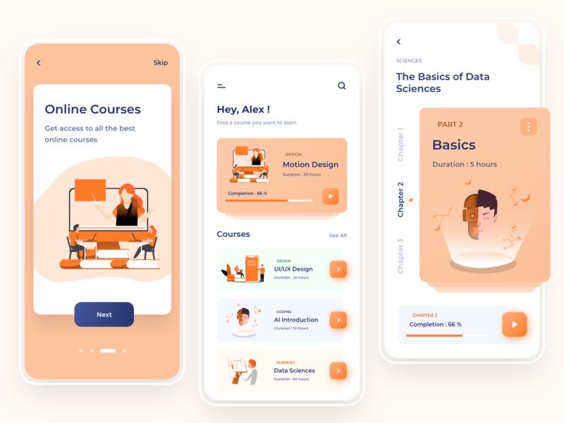 Online courses App artificial intelligence data science course online courses online courses illustration flat colors ux ui mobile iphone digital design app