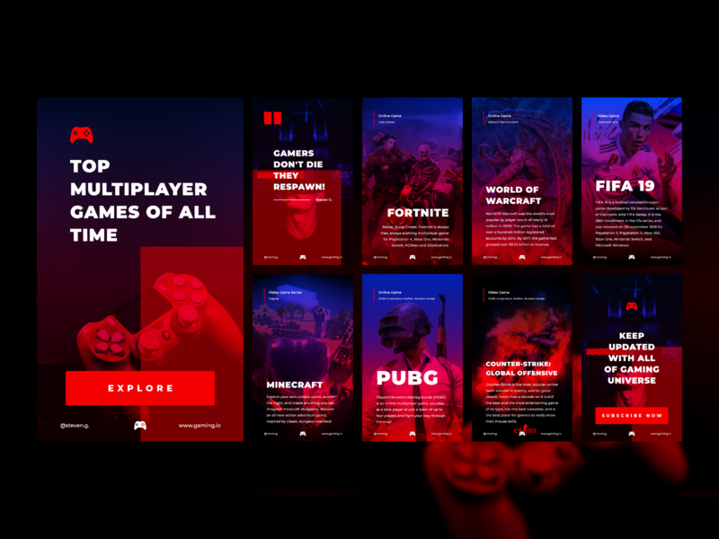 Amp Stories template for our client virtual gaming games warcraft gamer video gaming multiplayer fifa 19 makestories fortnite minecraft pubg amp stories amp app ui design wearehybreed hybreed