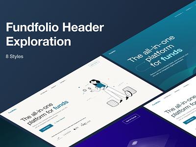 Header Exploration for Finance Sector Website graphic design hybreed illustration vector banner exploration menu navigation website uidesign design wearehybreed ui branding