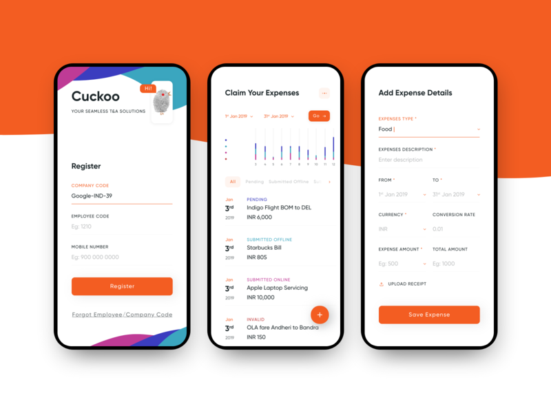 Cuckoo- App redesign POC for HR Company in Mumbai app lists forms android redesign concept appdesign ui hybreed design wearehybreed