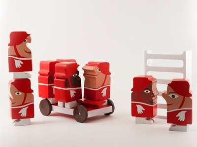 TOTLE firefighters children design childrens illustration product concept wood retro toys toy design illustration