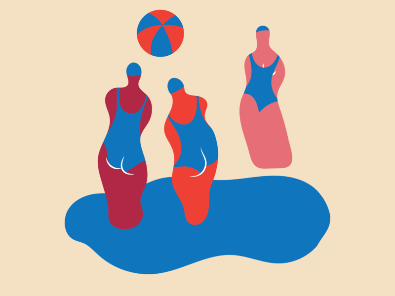 At the beach minimalism shapes colors women beach vector illustration illustrator