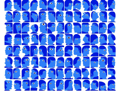 182 Blue Faces exhibition print characterdesign characters faces poster design concept illustration