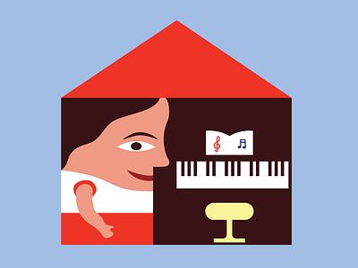 Piano at home puzzle home music toy design childrens illustration concept children design illustrator illustration