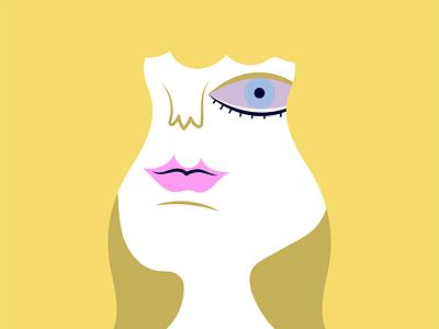 Bubble Gum portrait woman pink yellow purple blonde vector illustrator illlustration