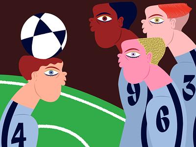 A Soccer Team font team green colors groovy sports characterdesign character illustraion art soccer illustrator illustration design