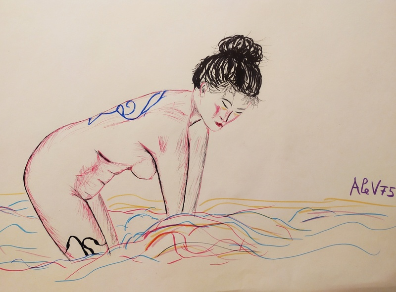 Bathing To Wash Thoughts Away japan inspired asian girl markers pens illustration illustrator melancholy meditation bathing