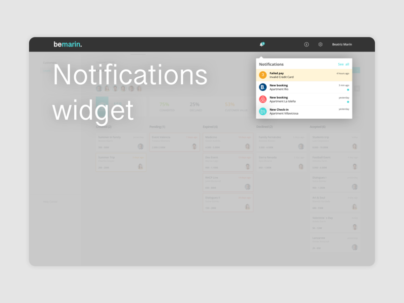 Notification Widget ux product design design ui notification crm erp bell notifications