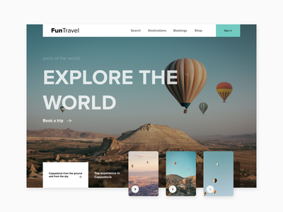 Fun Travel exploration explore travel uidesign webdesign landingpage landing page