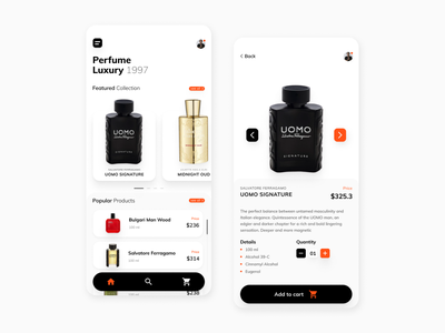 Perfume App mobile design mobile uidesign exploration perfume app mobile app
